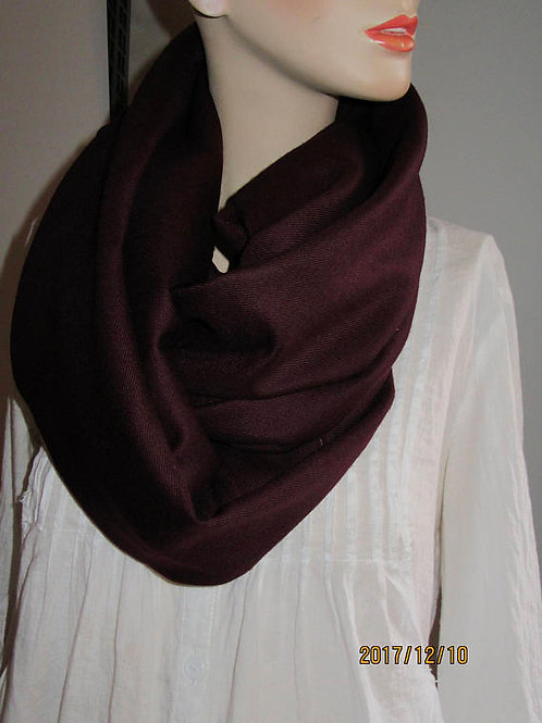 Burgundy Mixed Wool INFINITY Scarf  ~ 90' x6'