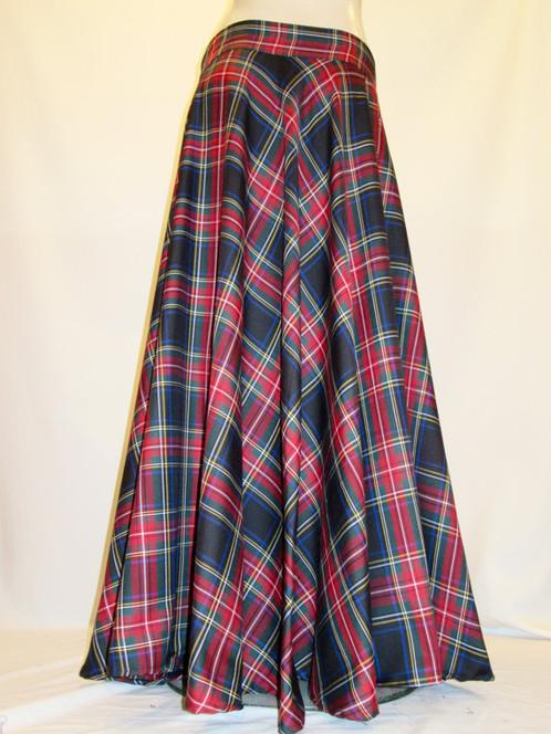 Black Stewart Floor Length Skirt~Red Black Plaid Full circle skirt ...