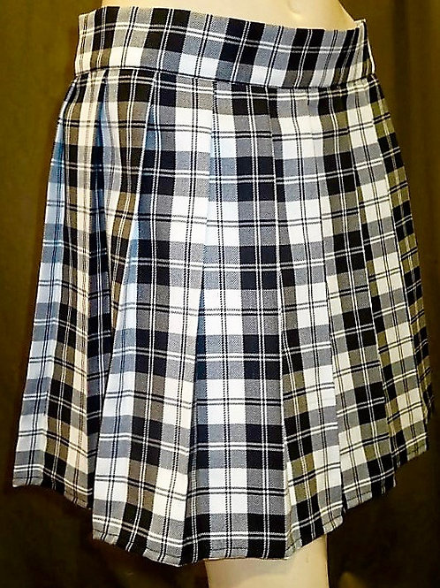 Menzies Black Plaid Sewn down pleated high waist skirts~Black White Plaid Skir