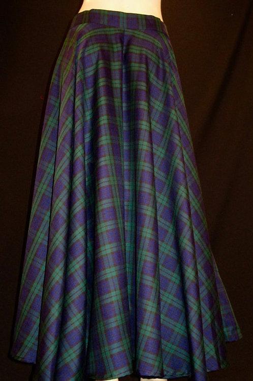 Black Watch Tartan Floor Length Elastic Waist with side pocket Plaid Skirt~Plus