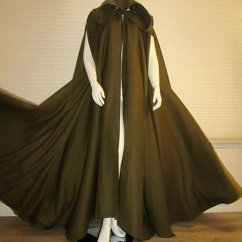 Olive Green Pure wool Full circle Cloak