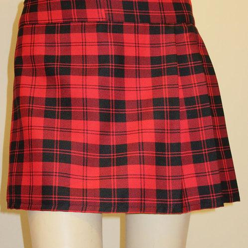 Menzies Red Mini Kilt~Ladies Mini Black Red Plaid Kilt