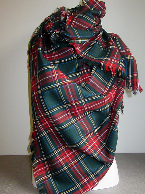 Green Stewart Plaid Blanket Scarf