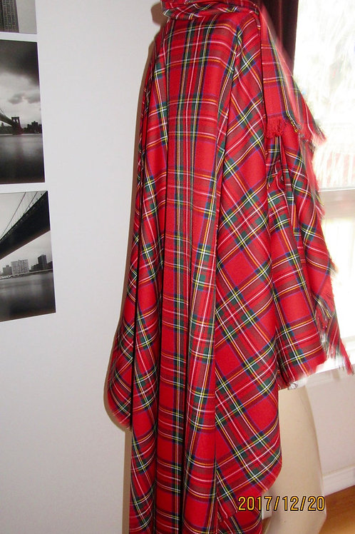 Royal Stewart Plaid Poncho Boat Neck Wrap Plaid Shawl~Free Shipping