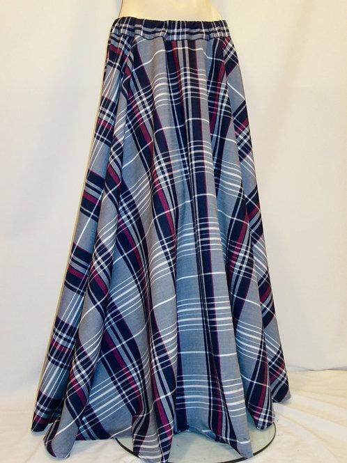 Tartan Plaid Circle Skirt w/ Side Pocket~Maroon Grey Tartan Skirt
