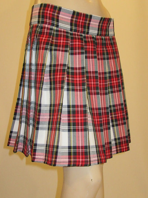 Dress Stewart Plaid Sewn down pleated high waist skirts~Pink White Plaid Skir
