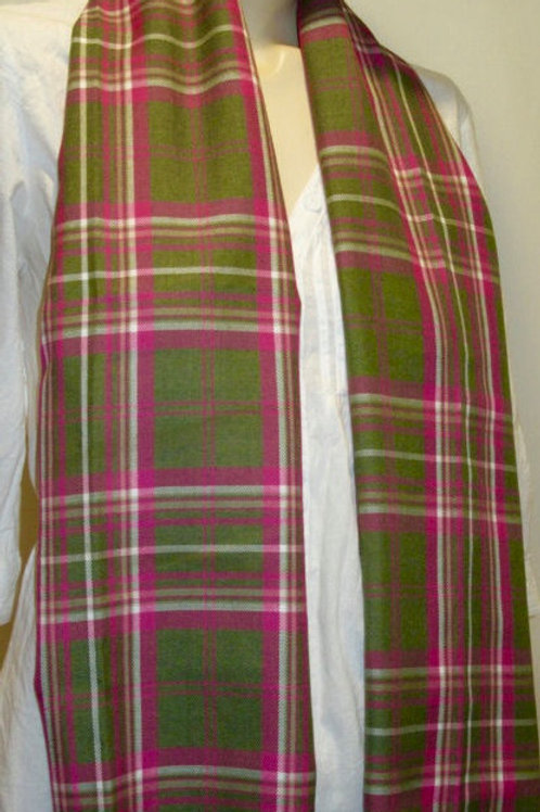 Pink Green Plaid Ladies Fringe Scarf~Unisex
