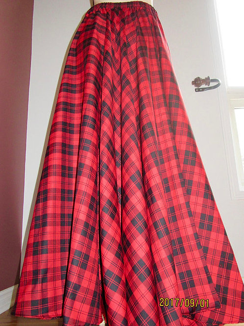 Red Menzies Full Circle Skirt -Christmas Party Red Plaid Maxi Skirt~Plus Size