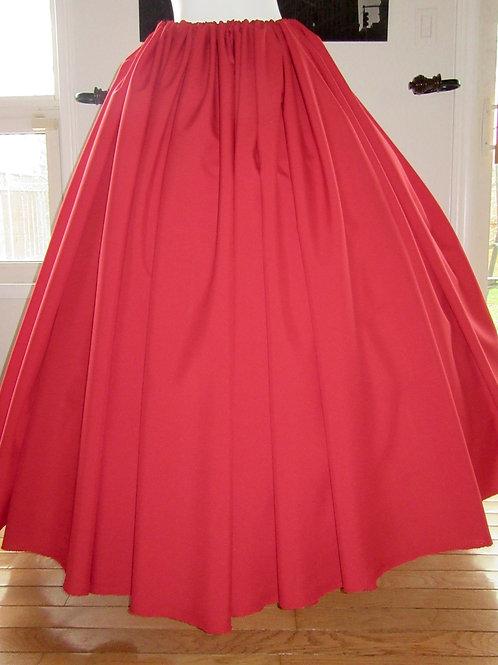 Scarlet Red Gathered skirt Renaissance Skirt Civil War Cosplay Skirt