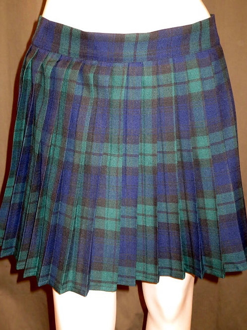 Black Watch Plaid Heavy Pleated Elastic Waistband Skirt~Side pocket Plus Size SK