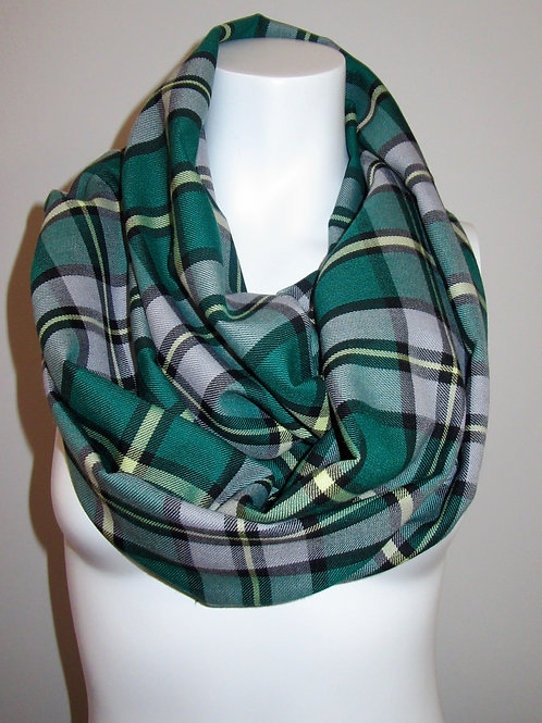 Cape BretonInfinity Scarf~Green Yellow Plaid Infinity Scarf~Custom make Scarves
