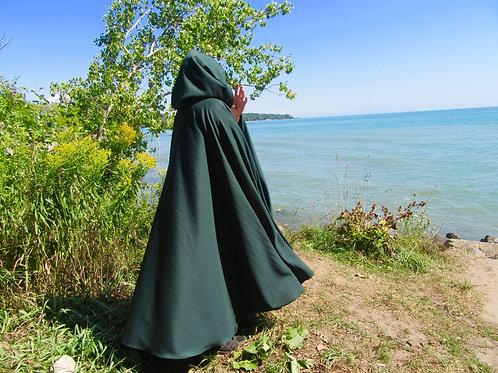Dark FOREST Green Wool Blend Medieval Cloak, Winter Cloak