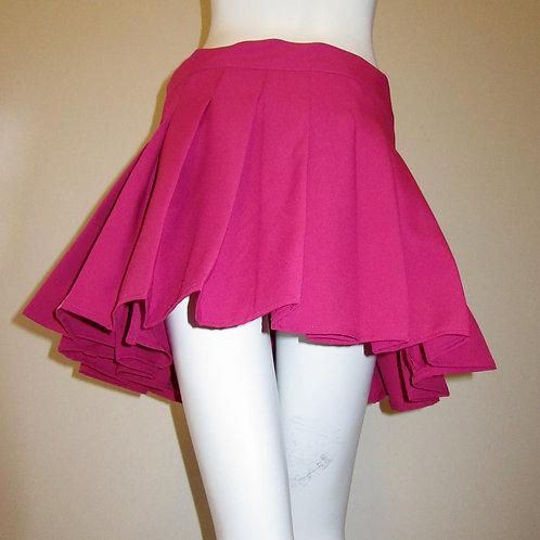 Cherry Pink Sewn down pleated high waist skirts~Wrap around style skirt