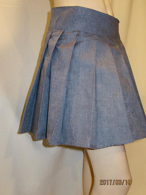 Blueish Linen Skirt~Custom make linen skirts ~Skater Pleated Skirt