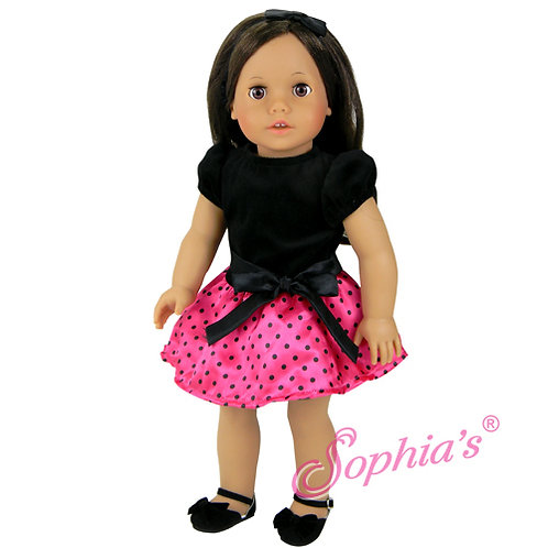Black Velvet & Polka Dot Satin Party Dress w/ Headband