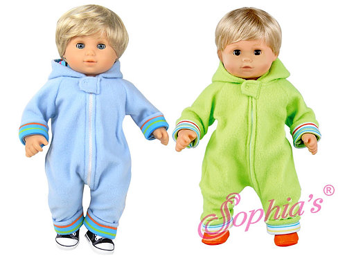 Hooded Fleece Baby Doll Coverall with Soft Stripe Lining