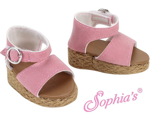 Light Pink Suede Wedge Sandals