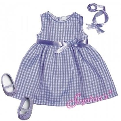 Baby Doll Lavender Gingham Spring Dress & Headband
