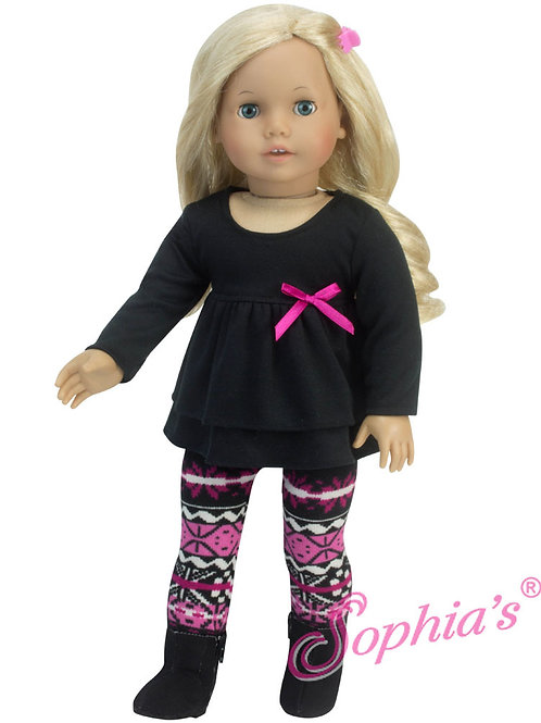 Hot Pink Print Leggings & Black Long Sleeve Ruffle Tee