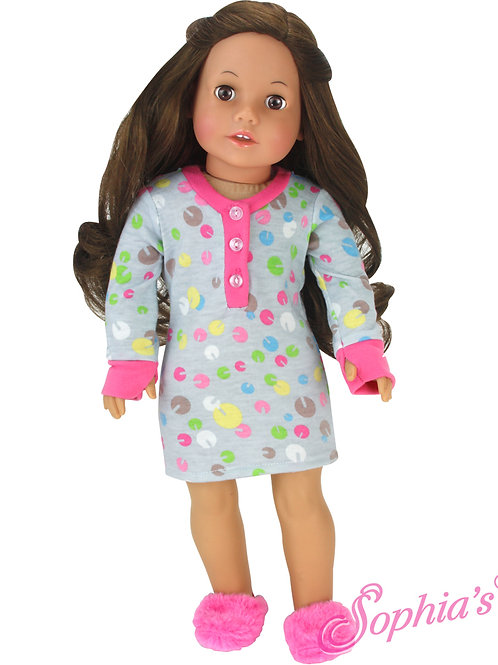 Long Sleeve Nightshirt and Slippers 2 Piece Set