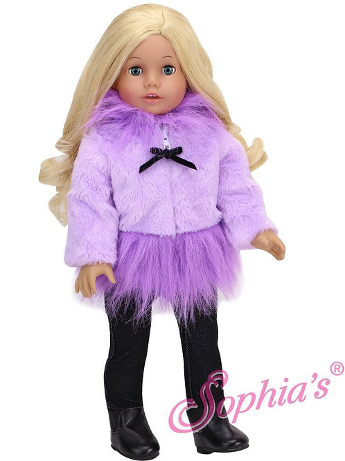 Lavender Fleece Fur Dress Coat