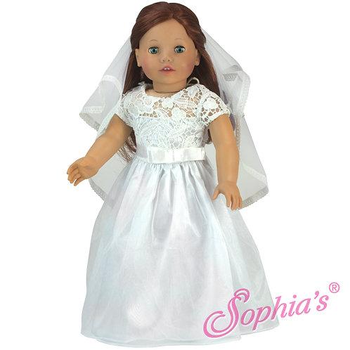 White Satin & Lace Celebration Dress & Veil