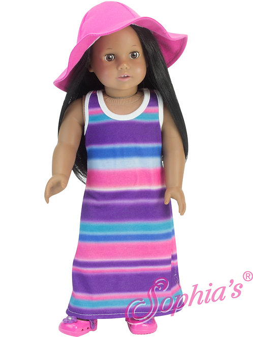 Rainbow Racer Back Maxi Dress & Coordinating Hat