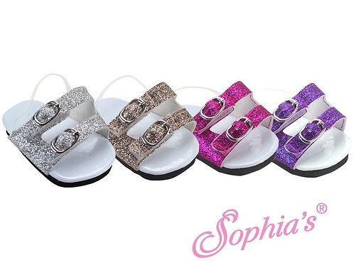 2 Strap Buckle Glitter Sandals