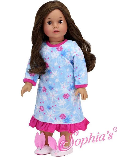 Snowflake Print Fleece Nightgown