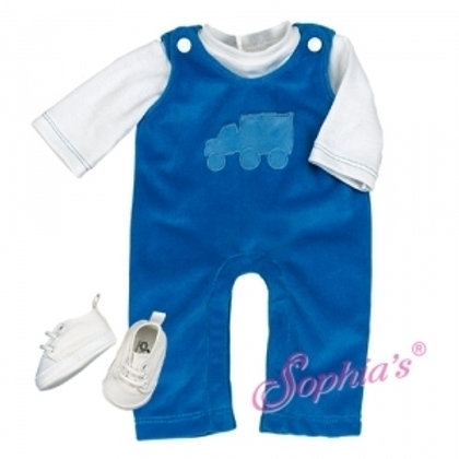Baby Doll Blue Velour Overalls with Tee 2 Piece Set