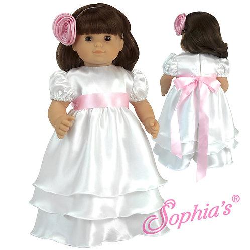 Baby Doll White Satin Celebration Dress & Headband
