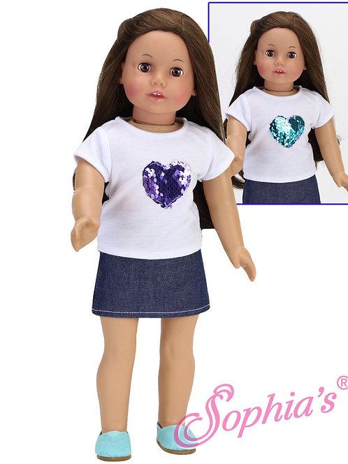 Purple Changeable Sequin Heart Tee & Denim Skirt