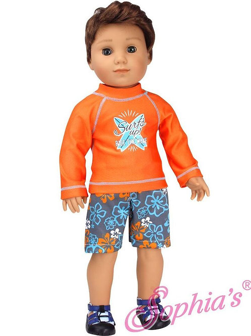 Orange Swim Shirt and Floral Trunks