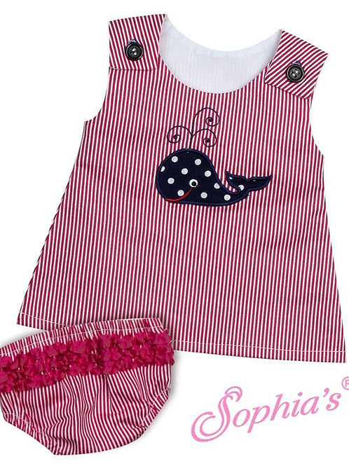 Baby Doll Red Pinstripe Whale Dress and Panties