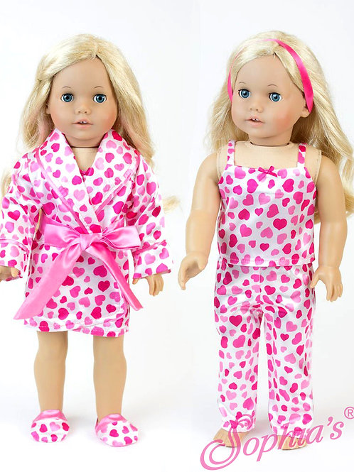 Heart Print Satin Doll PJ's, Robe & Slippers Set