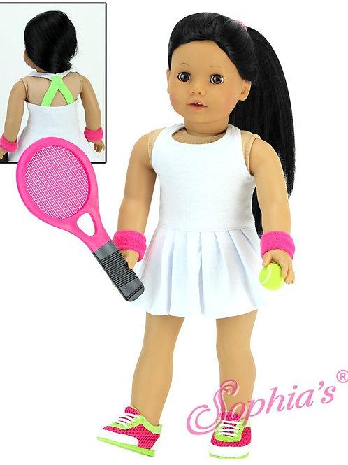 White Tennis Dress w/Pleated Skirt 4 Piece Set