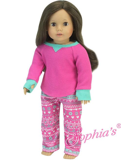 Hot Pink Thermal Shirt & Print Pants Pajama Set