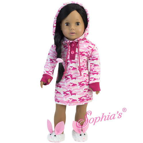 Pink Camouflage Hooded Nightgown and Hair Elastic