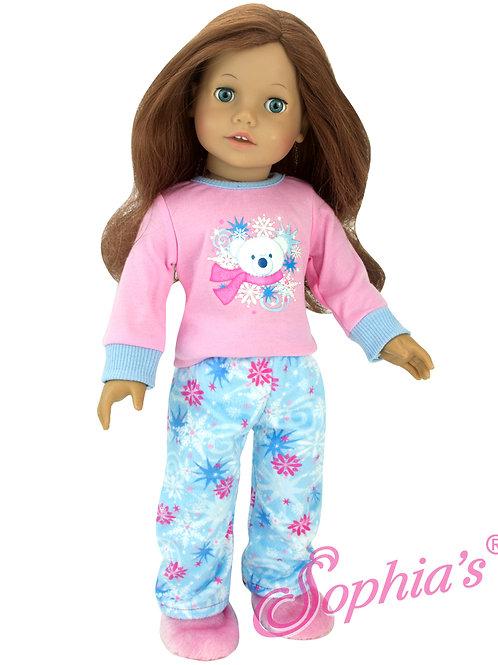 2 Piece Polar Bear Pajamas & Fur Slippers