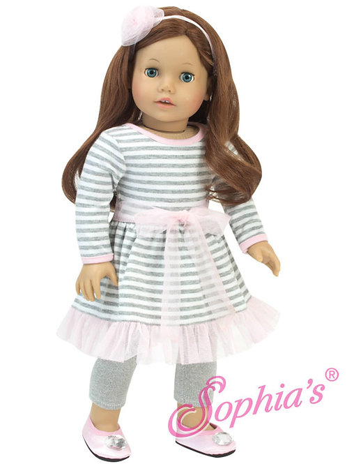 Pink & Gray Stripe Dress, Metallic Leggings and Hair Accessory