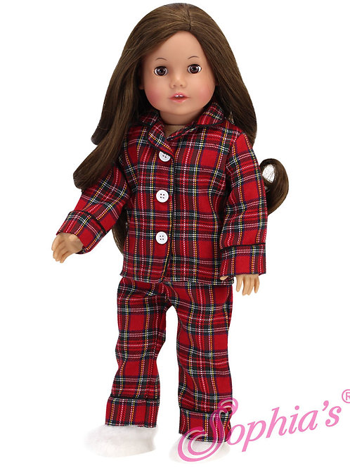 Red Flannel Plaid Pajamas & Fuzzy Slippers