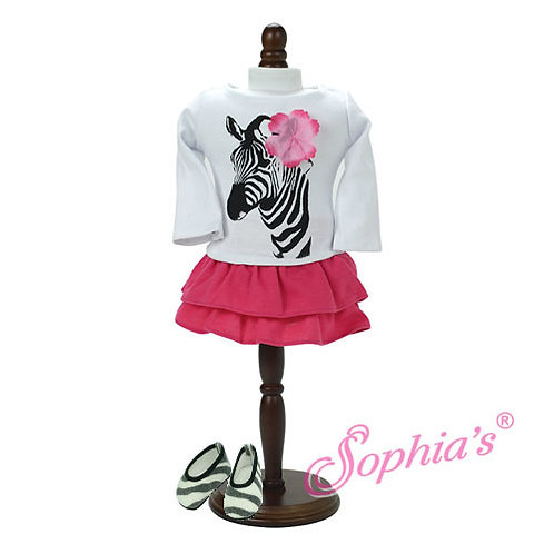 Long Sleeve Zebra T & Hot Pink Tiered Skirt