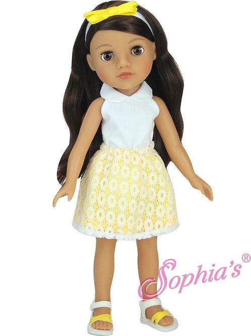 Yellow & White Eyelet Skirt 4 Piece Set