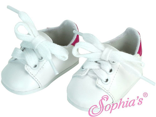 White Leather Look Sneaker w/Fuchsia Trim