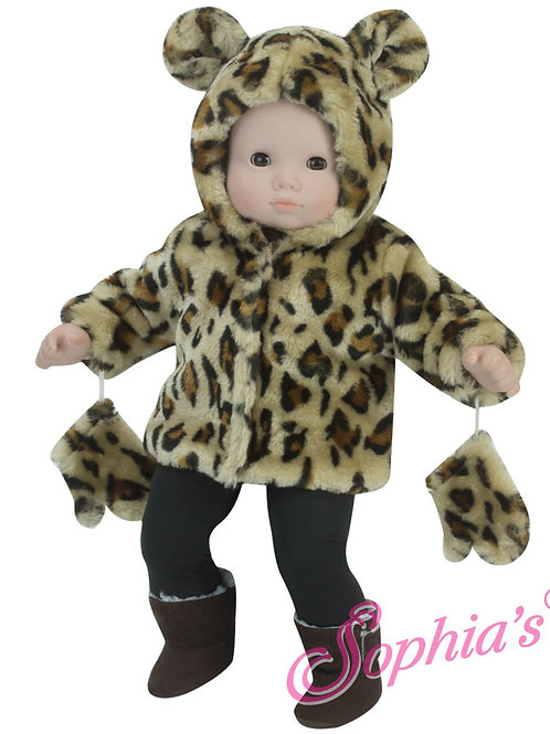 Baby Doll Animal Print Coat with Hood and Mittens