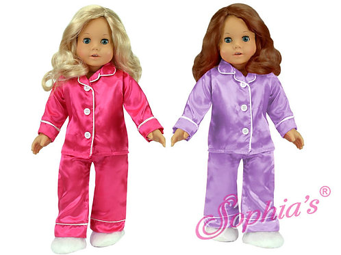 Satin PJ's with Fluffy Slippers