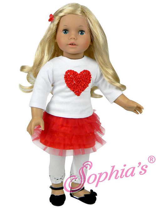 Ribbon Heart T, Red Tulle Skirt & White Sequin Trim Leggings
