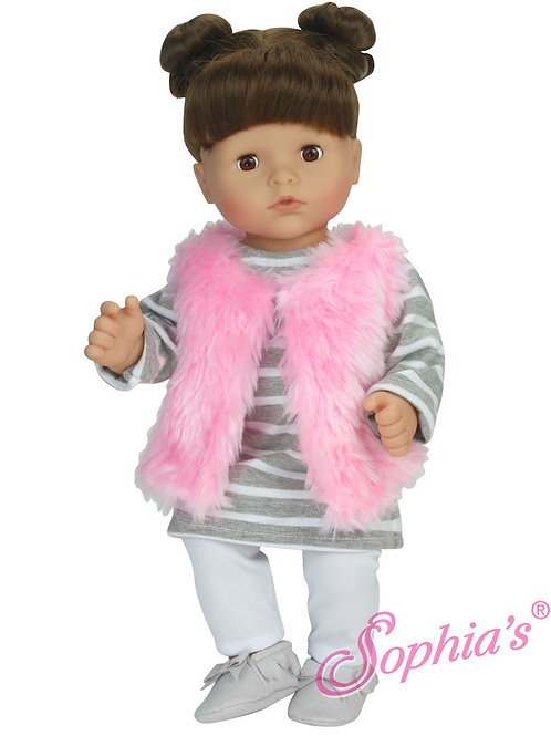 Baby Doll T-Shirt Dress, Leggings & Furry Vest