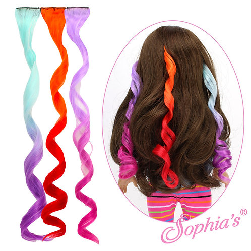Set of 3 Mulit-Color Curly Clip in Hair Pieces