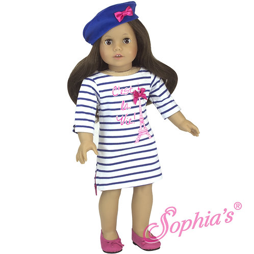 Stripe Eiffel Tower Dress & Velour Beret Hat
